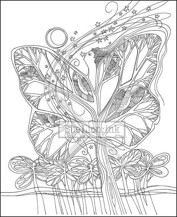 Just Imagine Trees Coloring Book | Sue Lion : ink